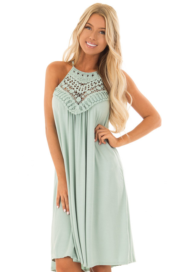 Eucalyptus Dress with Lace Front Detail front close up