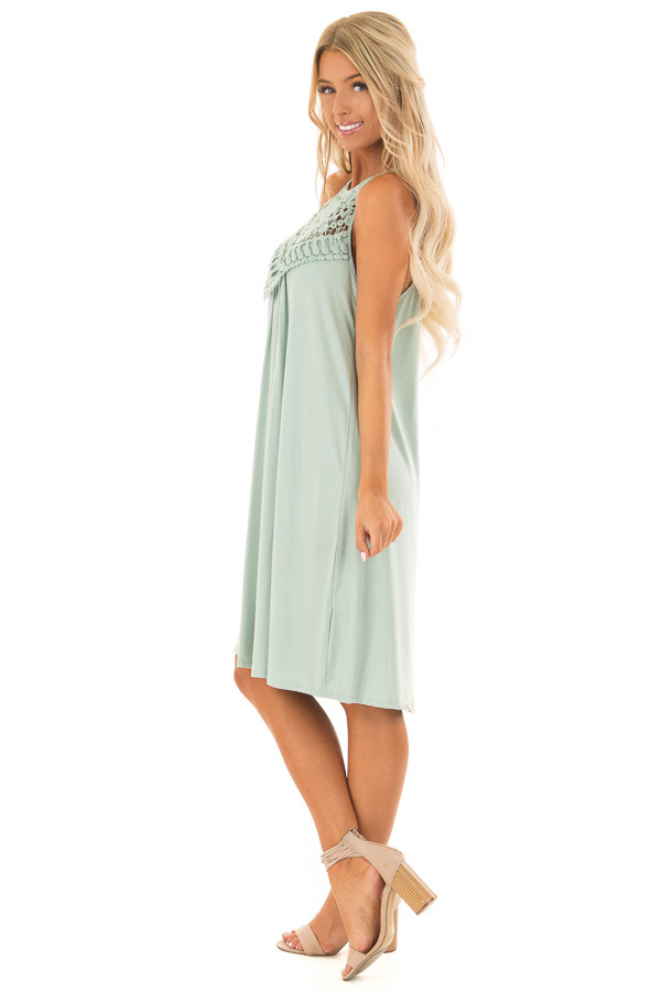 Eucalyptus Dress with Lace Front Detail side full body