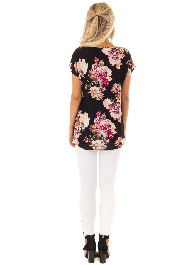 Black Floral Print Short Sleeve Top with Front Twist Detail back full body