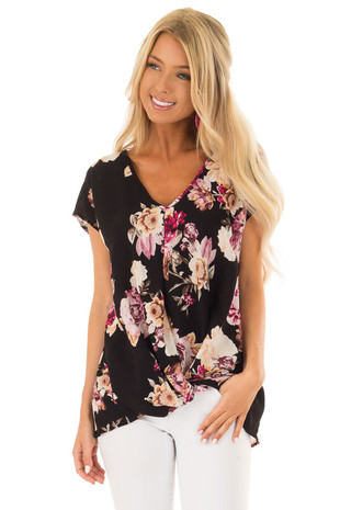 Black Floral Print Short Sleeve Top with Front Twist Detail front close up
