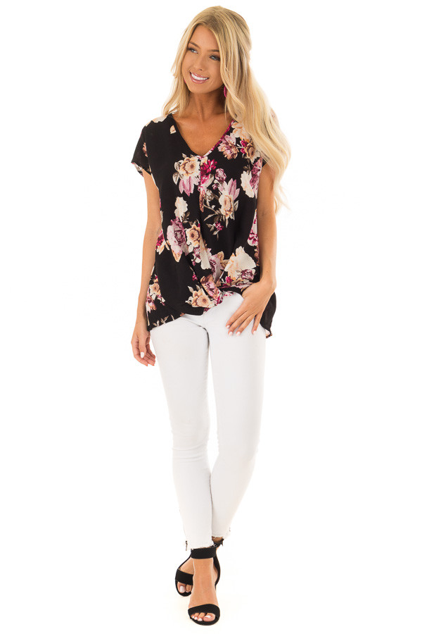 Black Floral Print Short Sleeve Top with Front Twist Detail front full body