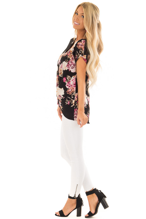 Black Floral Print Short Sleeve Top with Front Twist Detail side full body