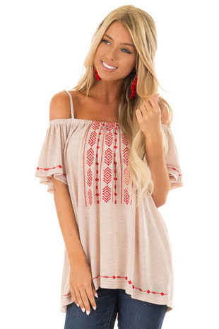 Sand Off Shoulder Top with Crimson Embroidery Detail front close up