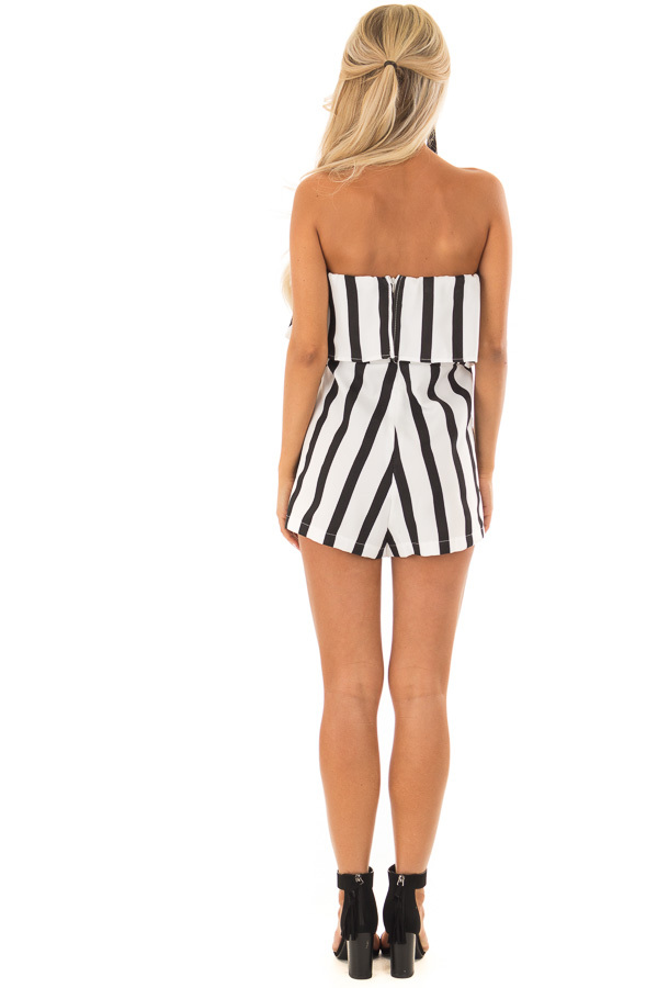 Black and White Striped Romper with Ruffle Overlay Detail back full body