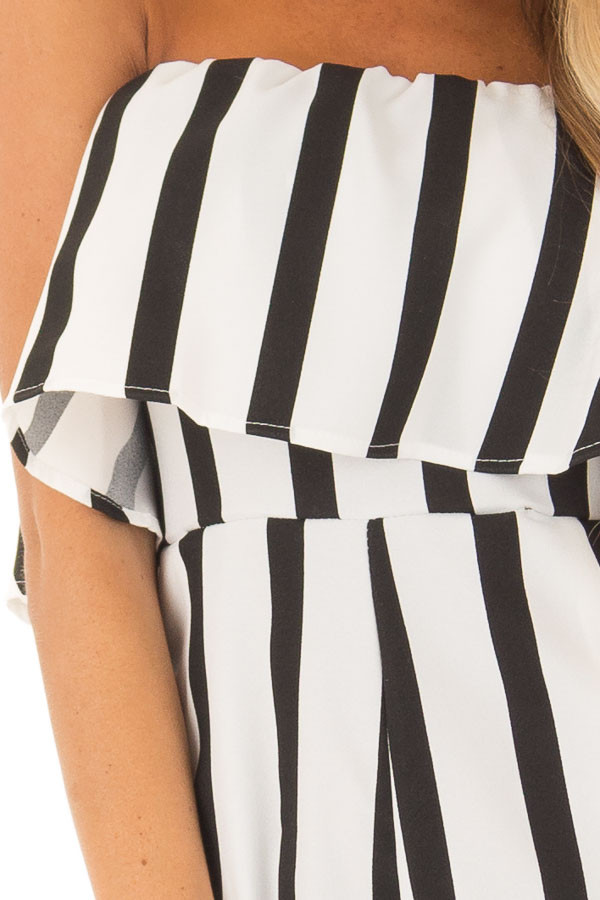 Black and White Striped Romper with Ruffle Overlay Detail detail