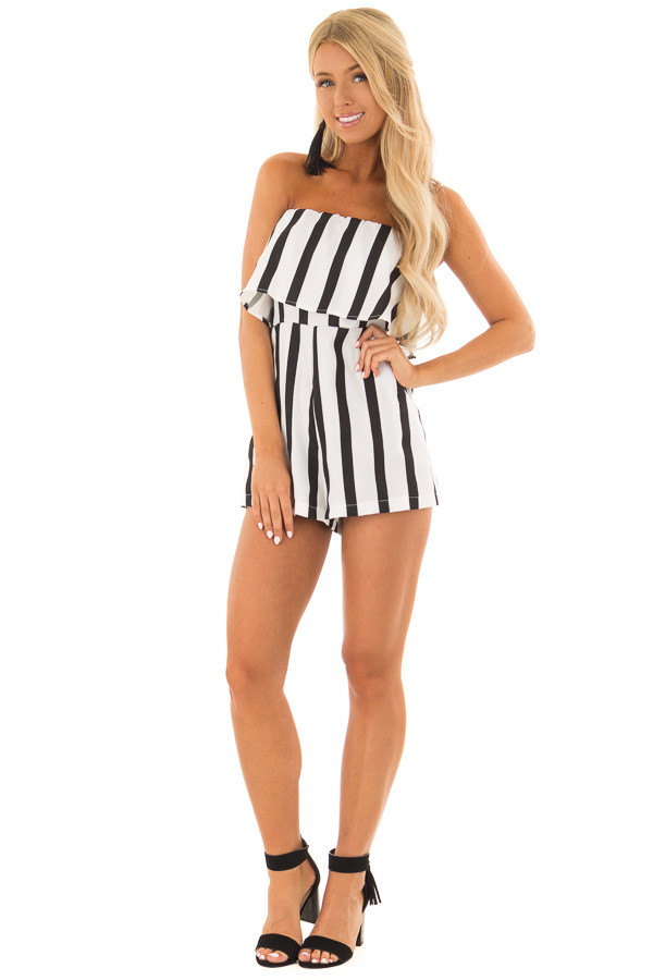 Black and White Striped Romper with Ruffle Overlay Detail front full body