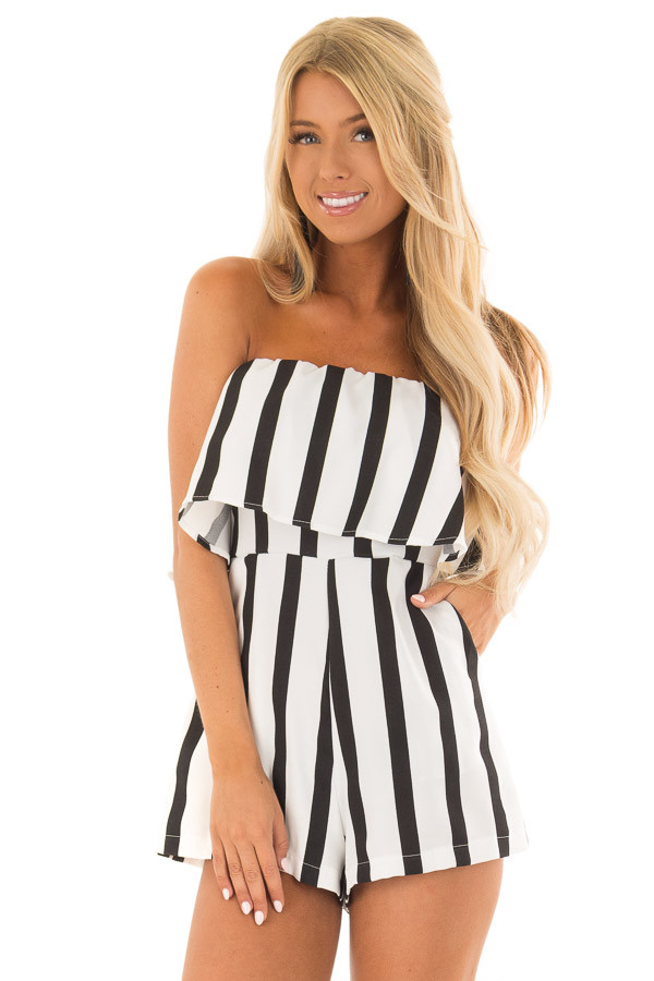 Black and White Striped Romper with Ruffle Overlay Detail front close up
