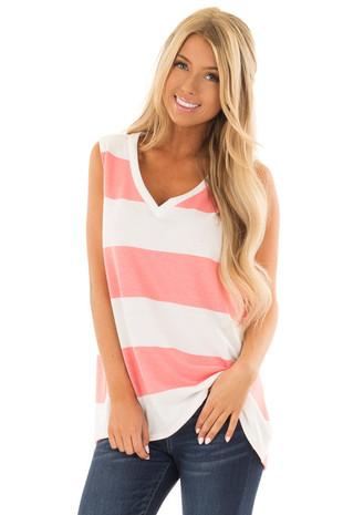 White and Coral Wide Striped V Neck Tank Top front close up