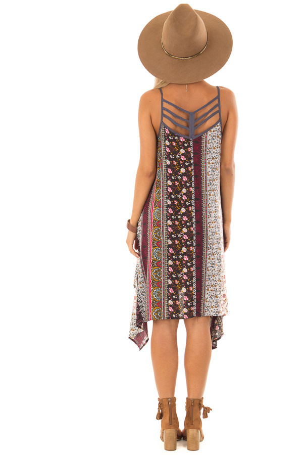 Burgundy and Spruce Boho Print Dress with Strappy Back back full body
