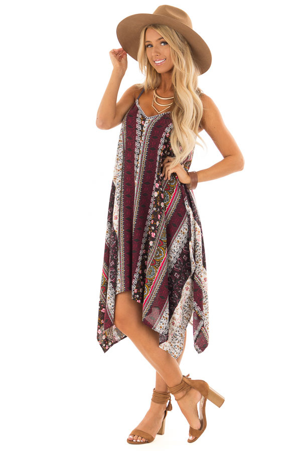 Burgundy and Spruce Boho Print Dress with Strappy Back front full body