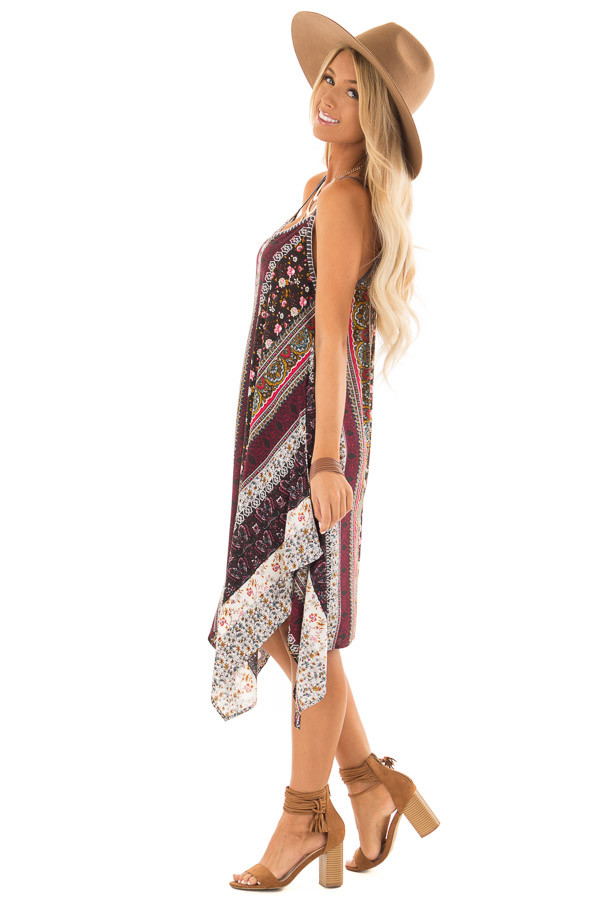 Burgundy and Spruce Boho Print Dress with Strappy Back side full body