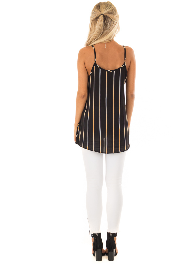 Black and Marigold Stripe Sleeveless Top with Twist Detail back full body