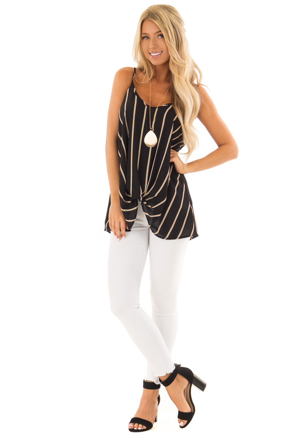 Black and Marigold Stripe Sleeveless Top with Twist Detail front full body