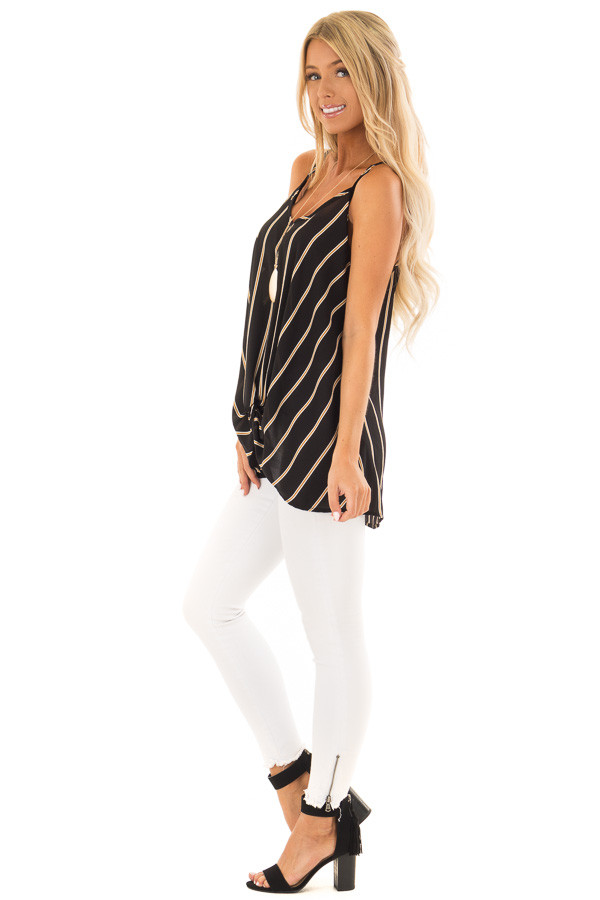 Black and Marigold Stripe Sleeveless Top with Twist Detail side full body