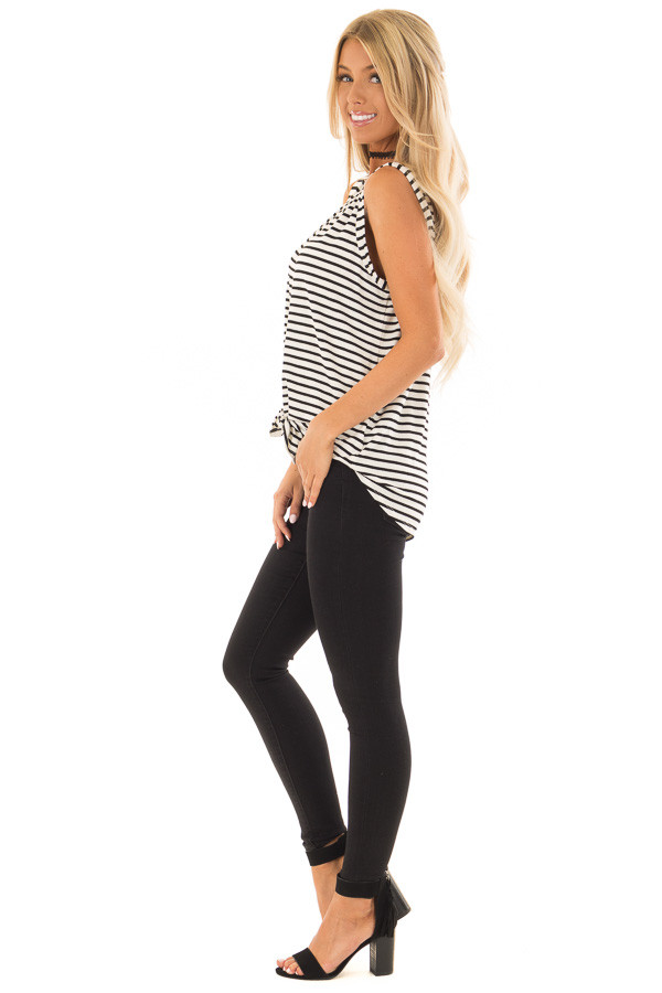 Ivory and Black Striped Button Up V Neck Tank Top side full body