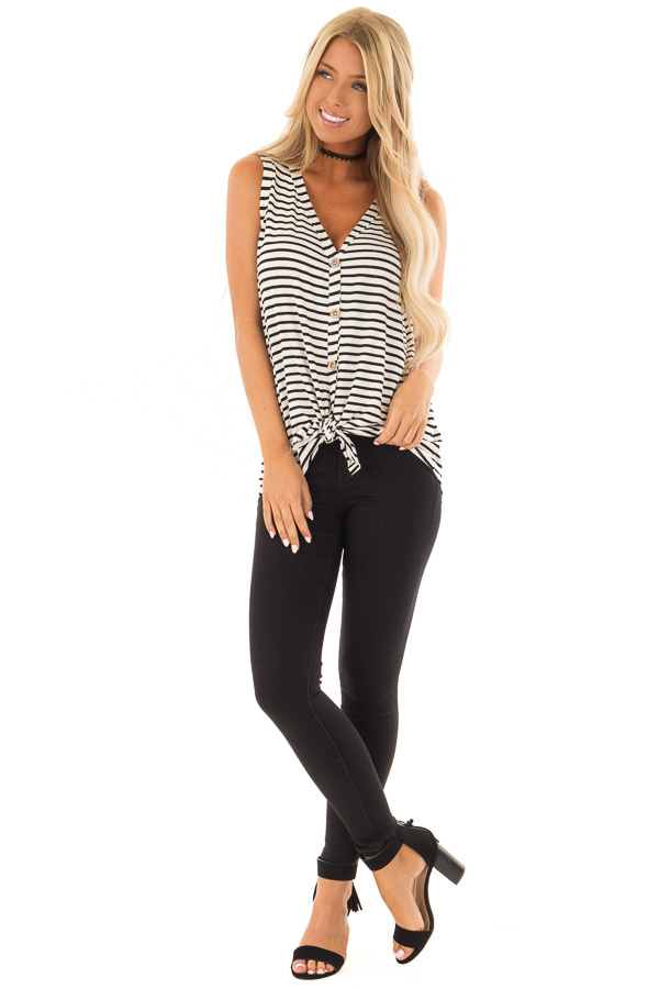 Ivory and Black Striped Button Up V Neck Tank Top front full body