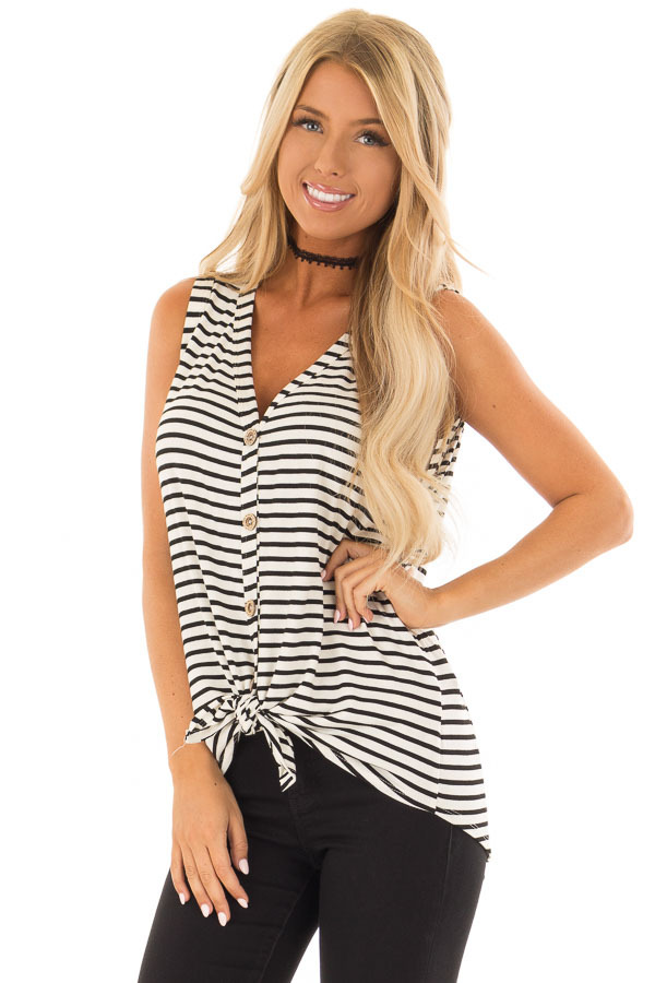 Ivory and Black Striped Button Up V Neck Tank Top front close up