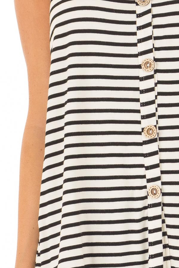 Ivory and Black Striped Button Up V Neck Tank Top detail