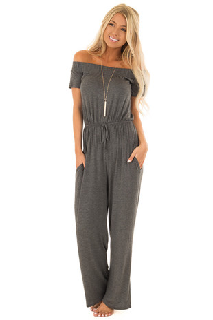 Charcoal Off the Shoulder Jumpsuit with Waist Tie front full body