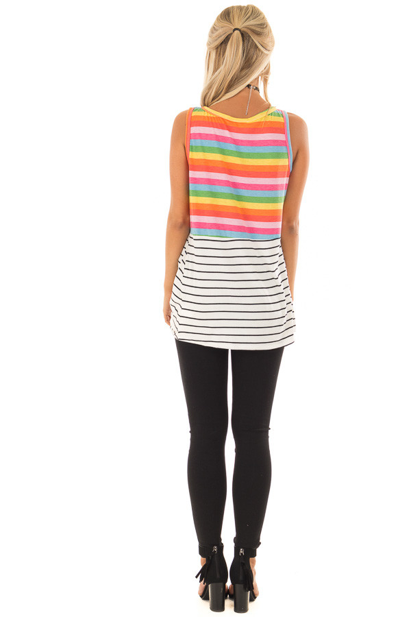 Multi Color Striped Tank Top with Front Twist Detail back full body