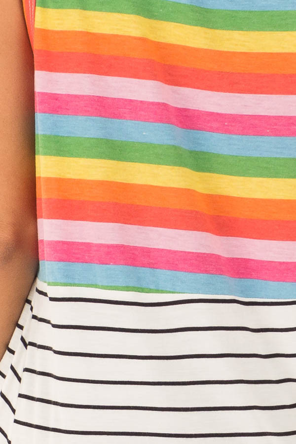Multi Color Striped Tank Top with Front Twist Detail detail