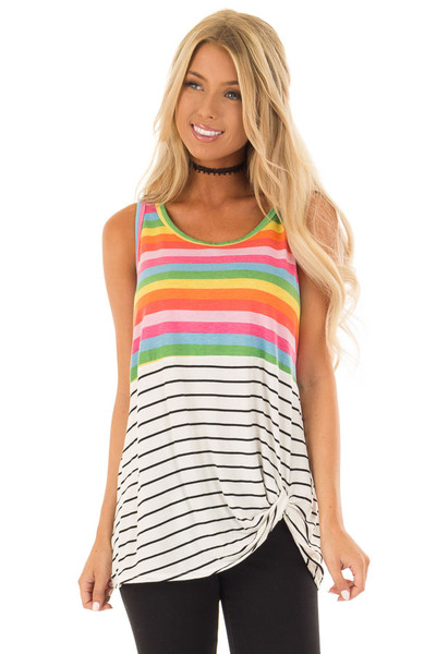 Multi Color Striped Tank Top with Front Twist Detail front close up