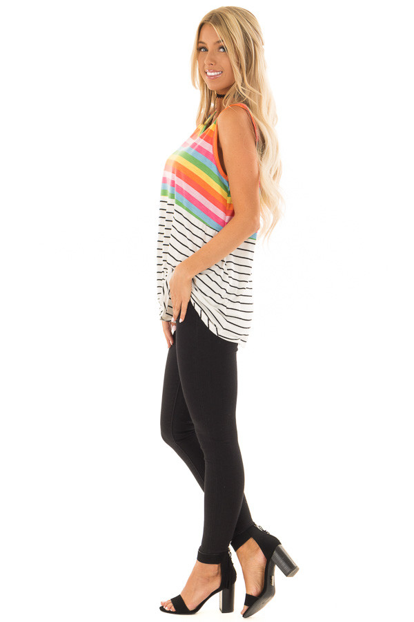 Multi Color Striped Tank Top with Front Twist Detail side full body