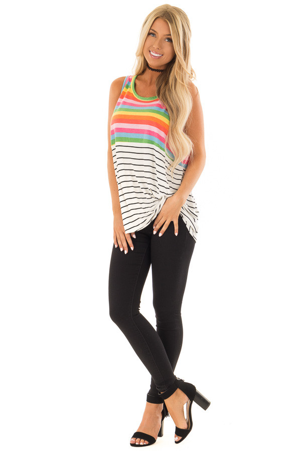 Multi Color Striped Tank Top with Front Twist Detail front full body