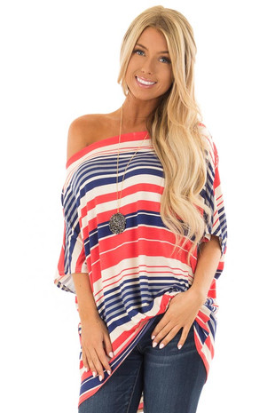 Coral and Navy Striped Off Shoulder Top with Front Twist front close up