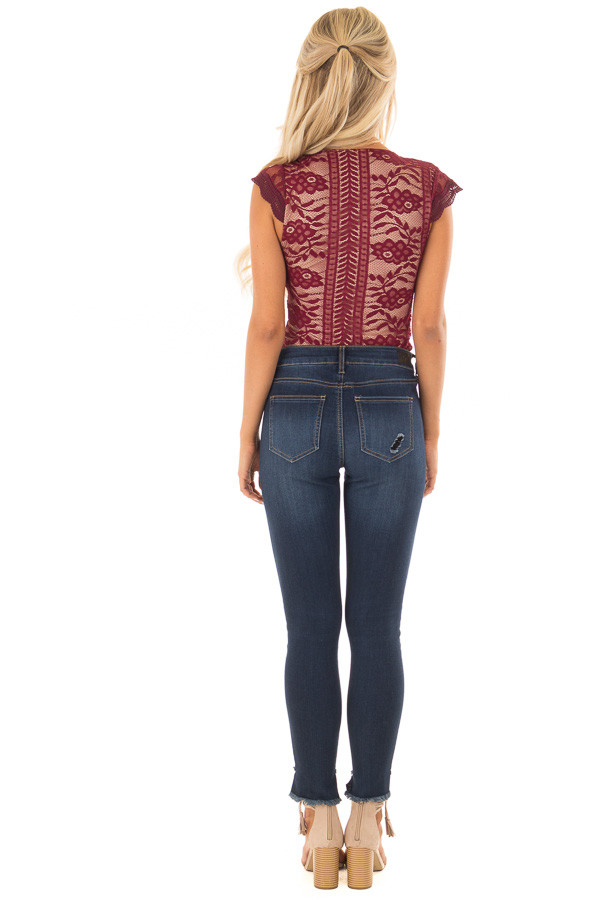 Burgundy and Nude Lace Bodysuit back full body