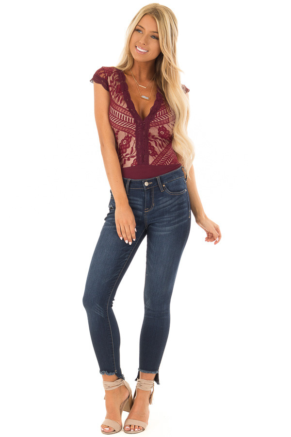 Burgundy and Nude Lace Bodysuit front full body