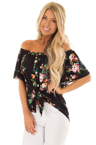 Obsidian Floral Print Off the Shoulder Button Down Top front close up