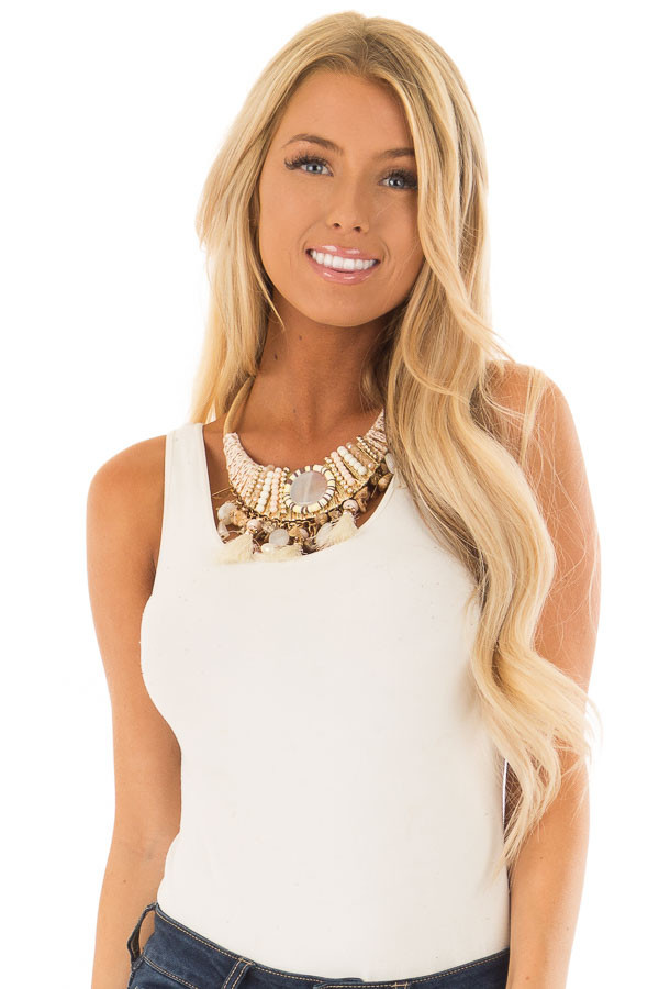 Multi Stone and Tassel Statement Necklace with Beading