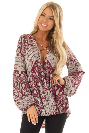 Wine and Cream Paisley Print Long Sleeve Top front close up