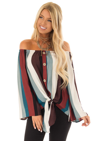 Multi Color Striped Off the Shoulder Top with Button Detail front close up