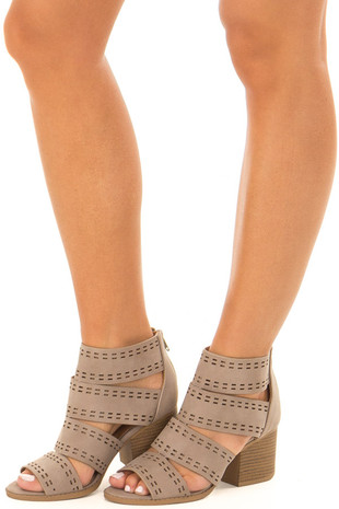 Taupe Cut Out Open Toe Caged Sandal front side aview