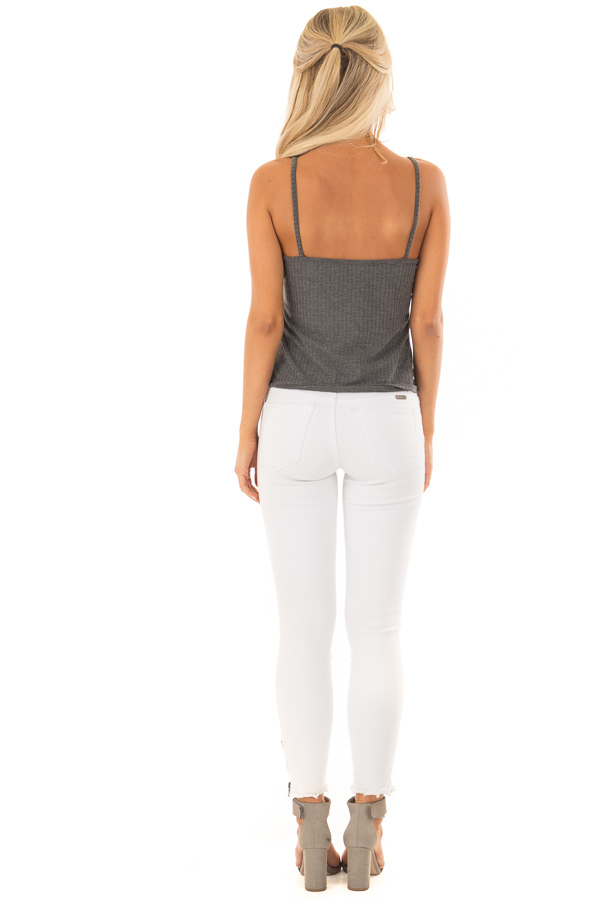 Iron Grey Ribbed Tank Top with Front Tie back full body