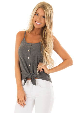 Iron Grey Ribbed Tank Top with Front Tie front close up
