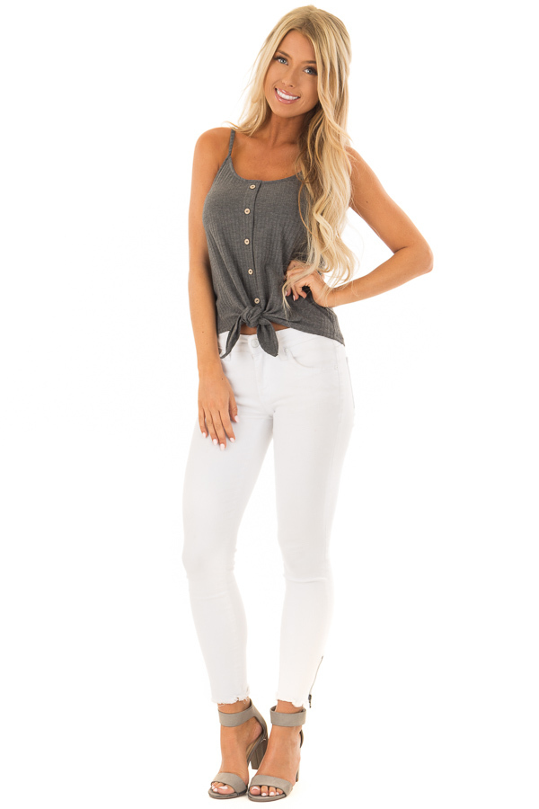 Iron Grey Ribbed Tank Top with Front Tie front full body