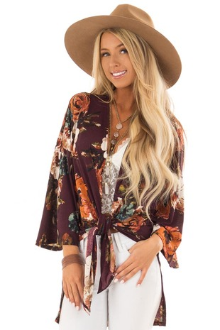Burgundy Floral Kimono 3/4 Sleeve with Side Slits front close up
