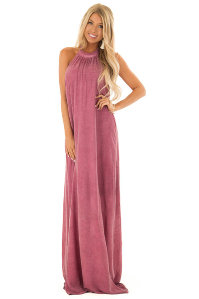 Dark Berry Mineral Washed Halter Maxi Dress front full body