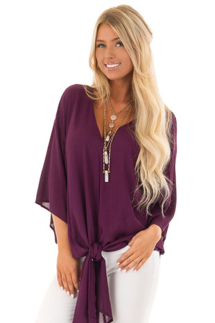 Sangria V Neck Top with Front Tie and 3/4 Flowy Sleeves front close up