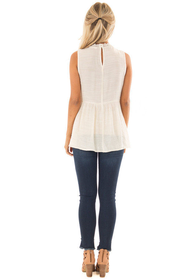 Cream Tank Top with Floral Embroidery and Sheer Lace Detail back full body