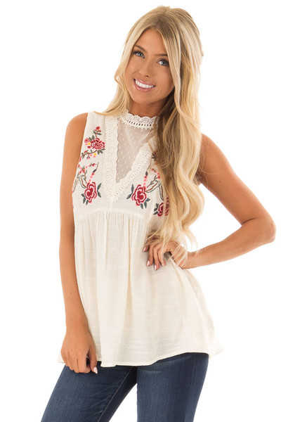 Cream Tank Top with Floral Embroidery and Sheer Lace Detail front close up