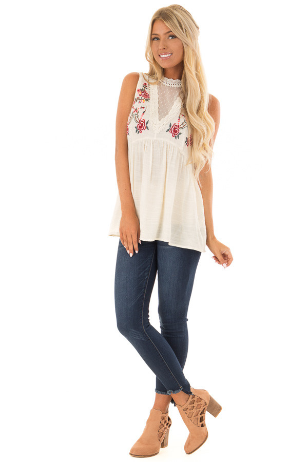 Cream Tank Top with Floral Embroidery and Sheer Lace Detail front full body