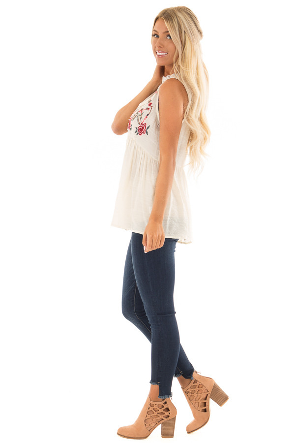 Cream Tank Top with Floral Embroidery and Sheer Lace Detail side full body