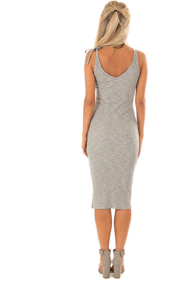 Light Grey Button Up Ribbed Bodycon Dress back full body