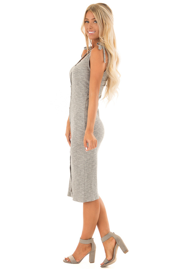 Light Grey Button Up Ribbed Bodycon Dress side full body
