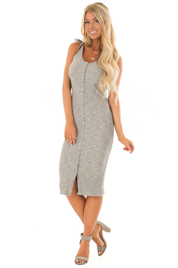 Light Grey Button Up Ribbed Bodycon Dress front full body