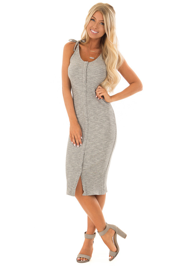 Light Grey Button Up Ribbed Bodycon Dress front close up
